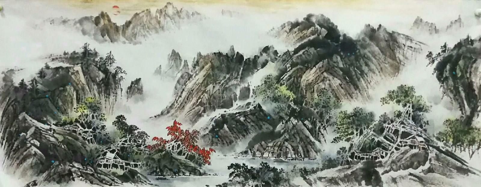 天来堂◆实力派画家段春斌◆小六尺水墨淡彩山水