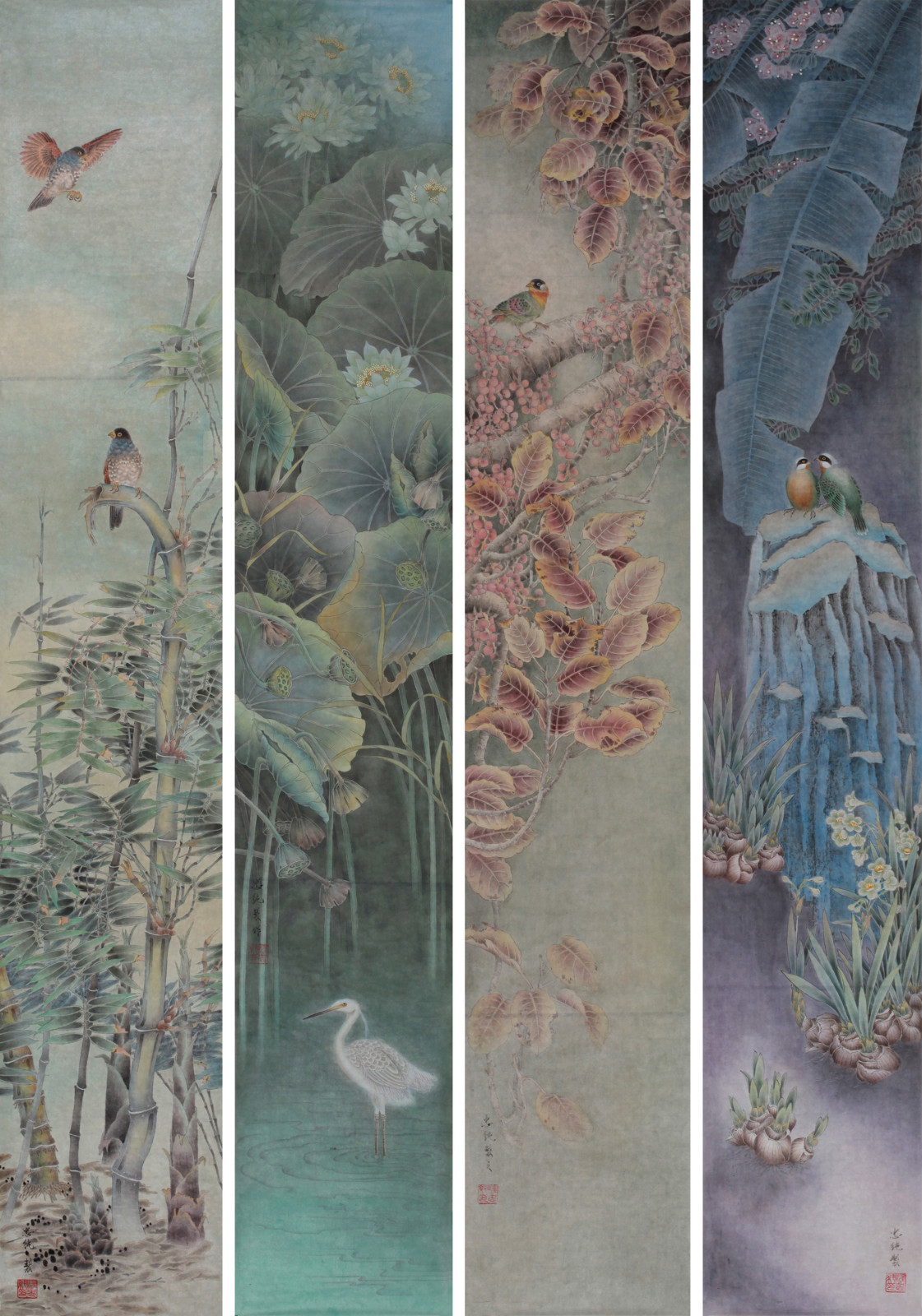 《花鸟四条屏》