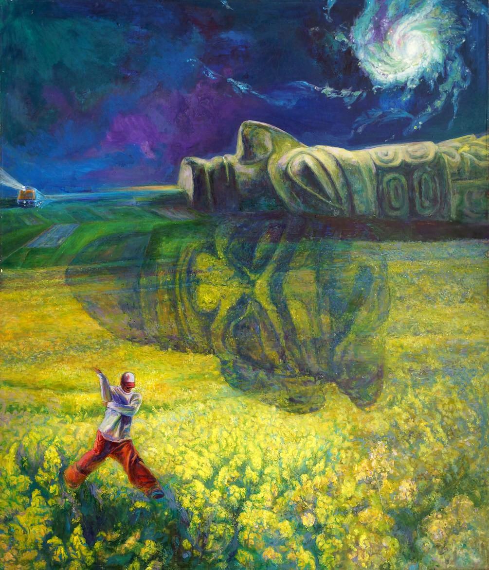 雕塑石雕 西画 油画风景 > 《月亮菜花》 120x160cm 谭先智