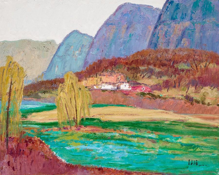 雕塑石雕 西画 油画风景 > 太行山和水   编号:p23191 类别:油画风景