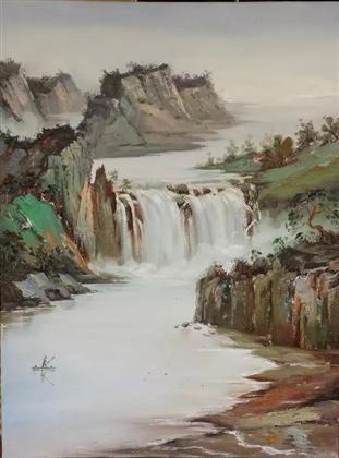 壁纸 风景 国画 旅游 瀑布 山水 桌面 311_420 竖版 竖屏 手机