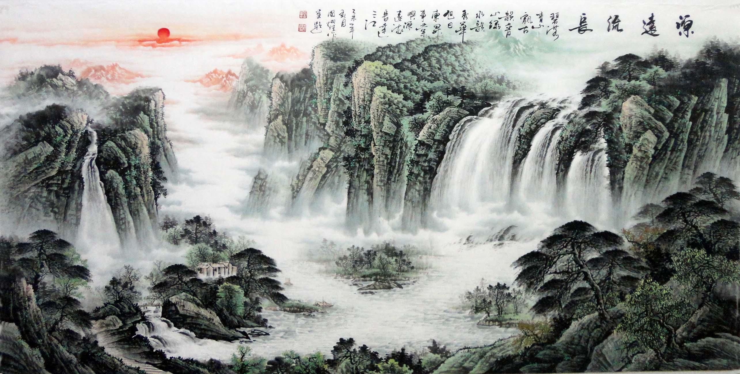 > 八尺国画办公室山水画名家周国耀手绘真迹风水画装饰画字画