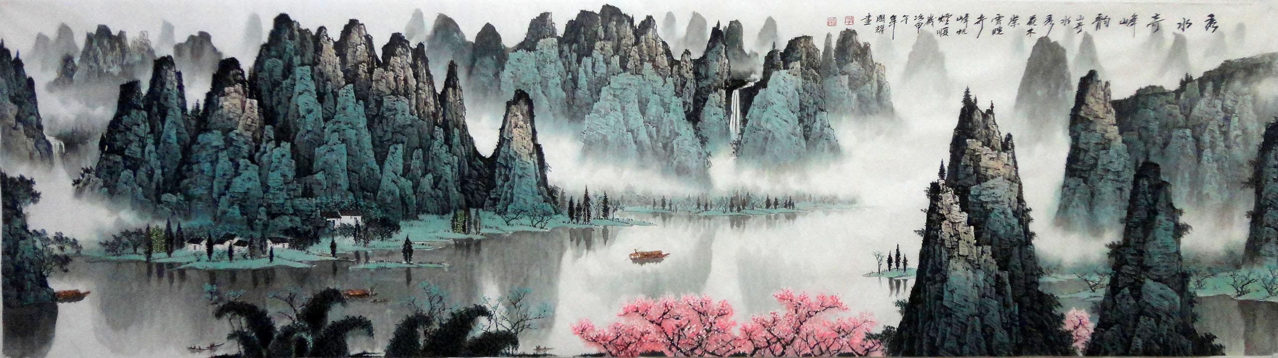 小丈二国画办公室山水画名家周国耀手绘真迹风水画装饰画字画