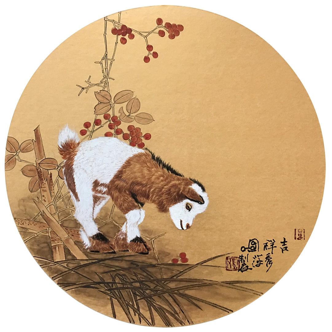 《吉祥图》动物工笔画 团扇   编号:p50692 类别:工笔画       张秀萍