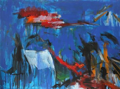 文杰油画作品 抽象丙烯 海底云