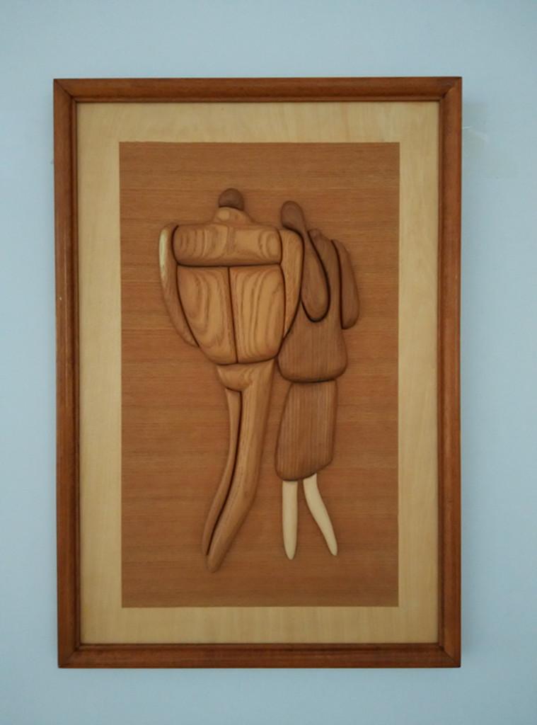 纯实木雕刻 情侣倩影 中国风