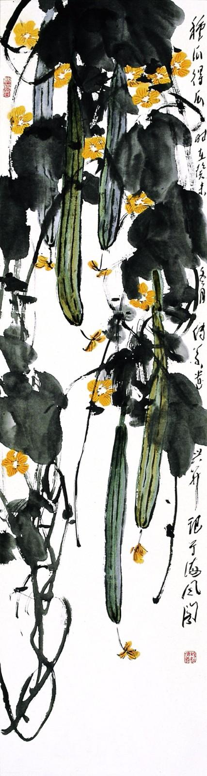 中国书画 国画 名家画 > 《五条屏-丝瓜》图片