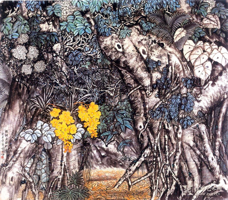 金晓海国画作品-版纳雨林印象