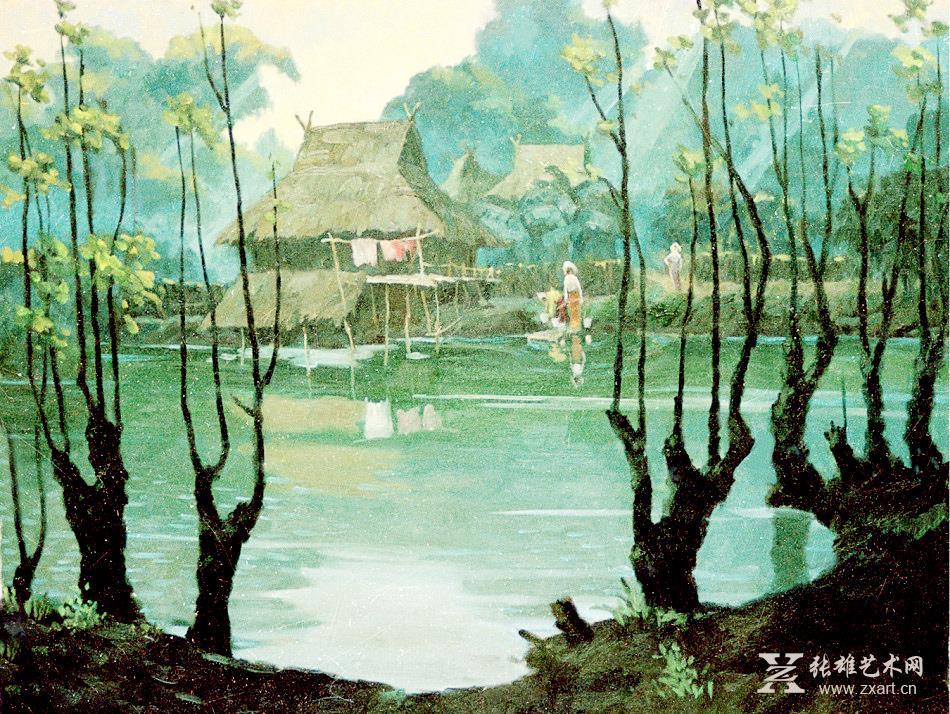 雕塑石雕 西画 油画风景 > 李本昌油画作品-水边的竹楼