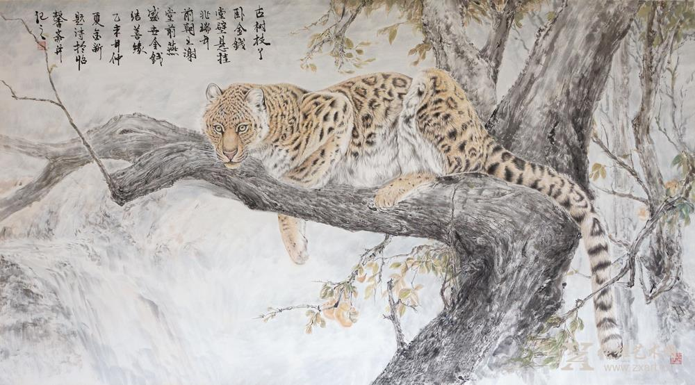 王金新国画作品-《古树枝丫卧金钱》
