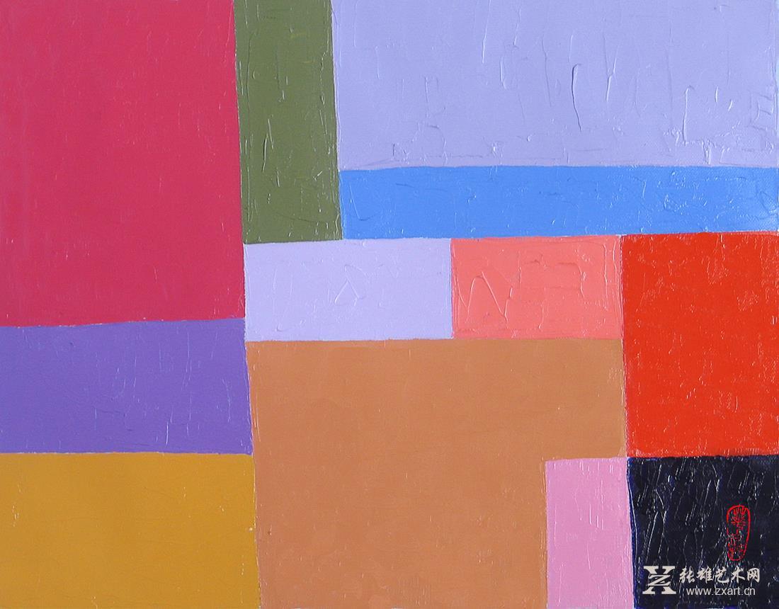 华兵油画作品 城市冷抽象系列