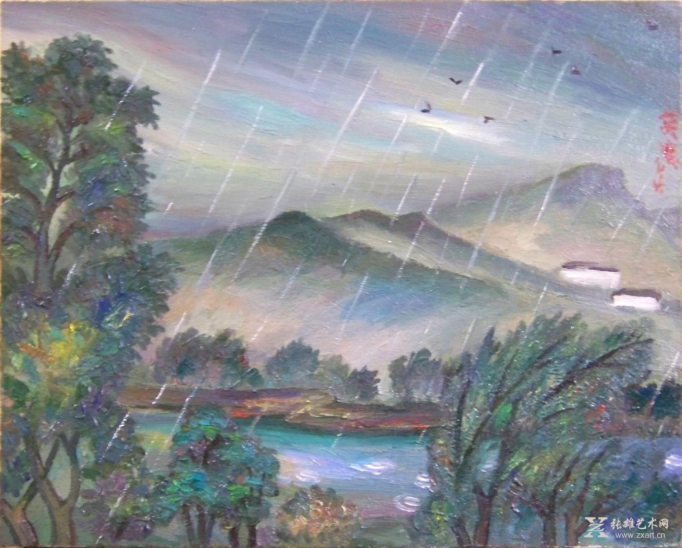雕塑石雕 西画 油画风景 > 《福建景色组画-后山雨景》