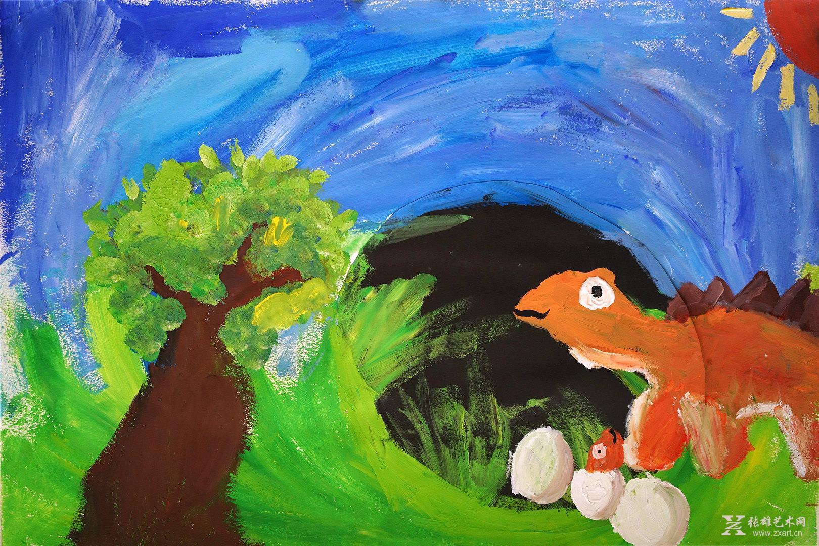 > 泡泡恐龙   •商品描述: 阮绚言作品  7岁《泡泡恐龙》西洋绘画