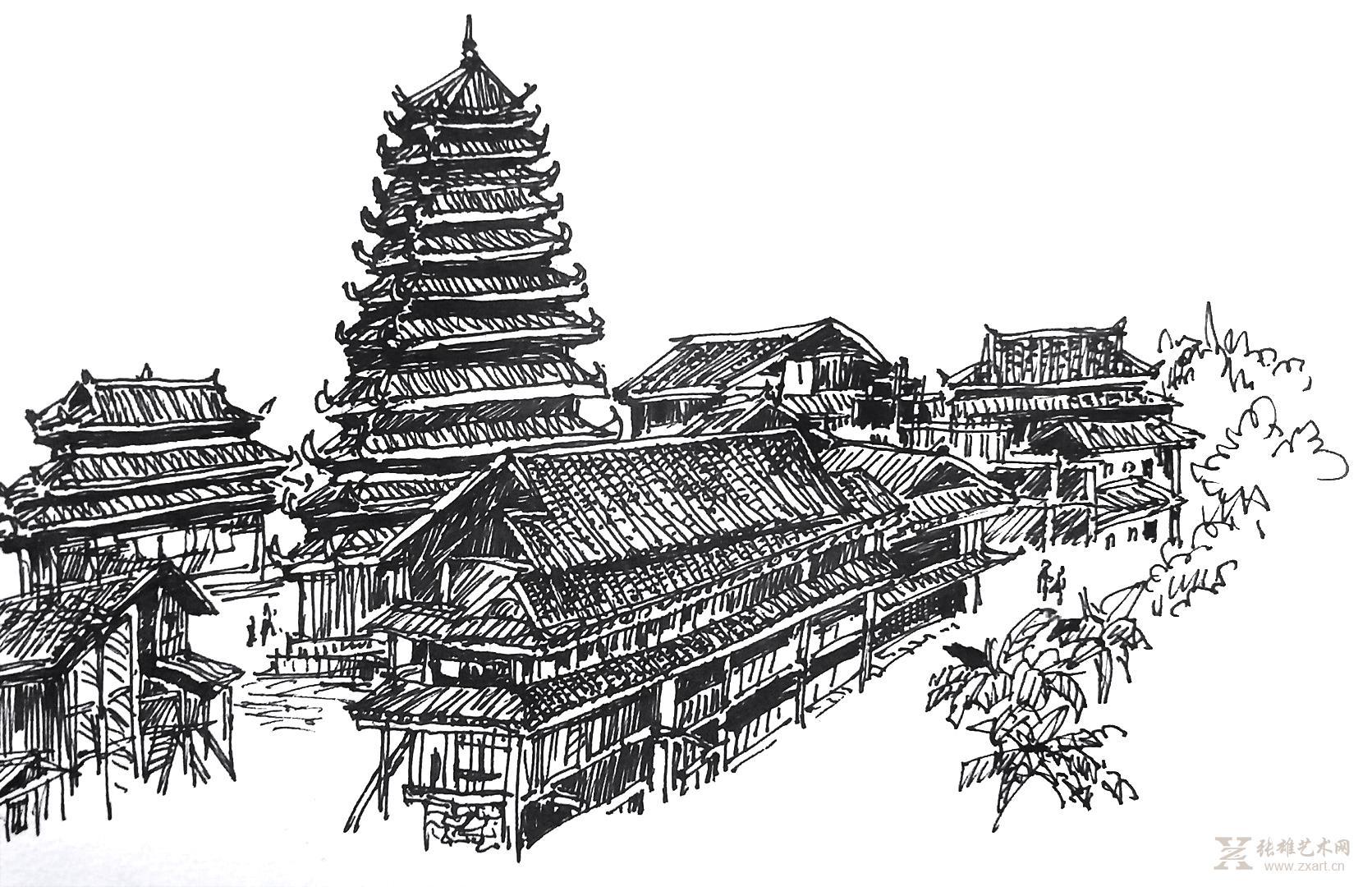 雕塑石雕 西画 水粉水彩 > 三江阳程侗寨鼓楼 写生   商品详细商品