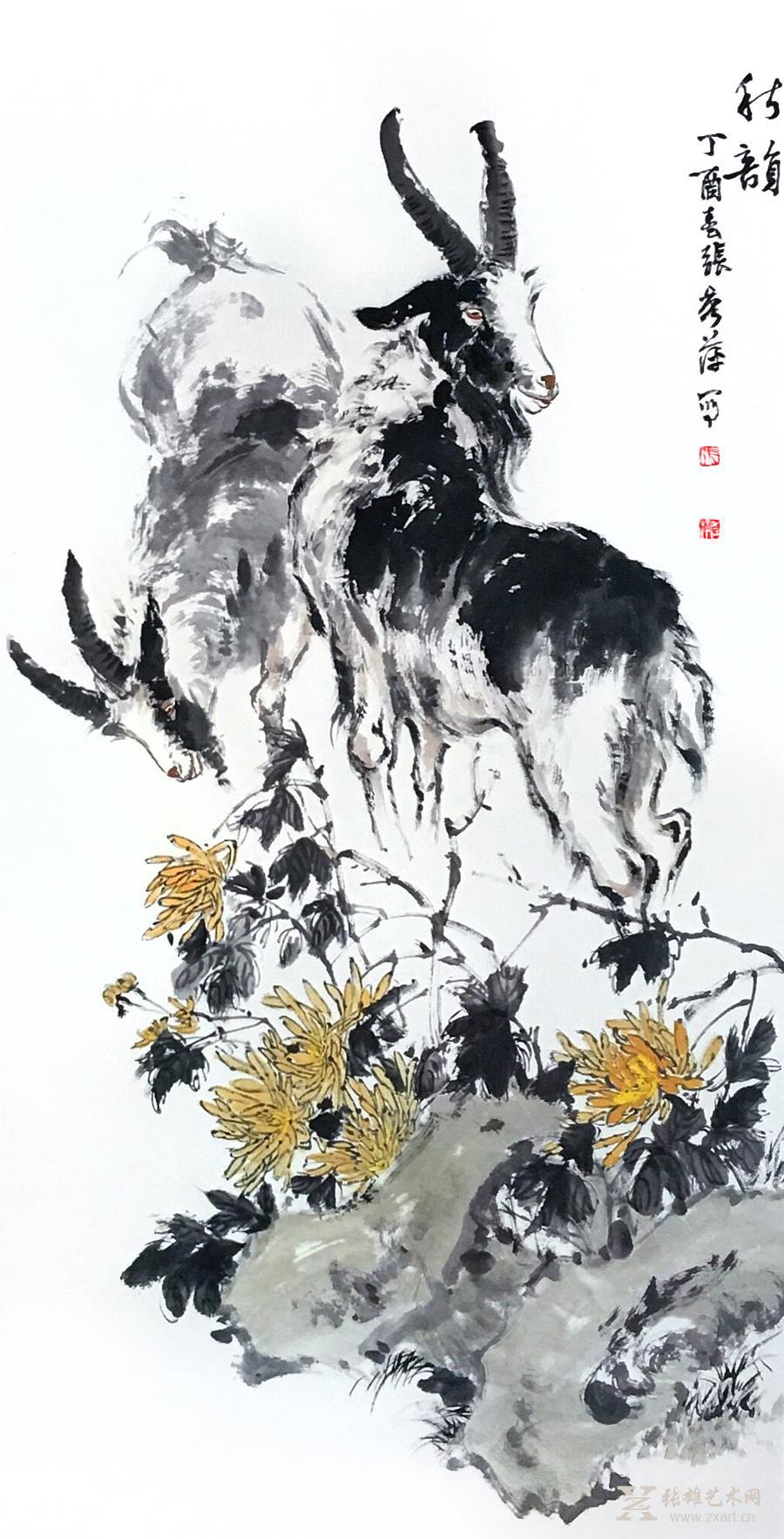 《秋韵》 水墨写意动物