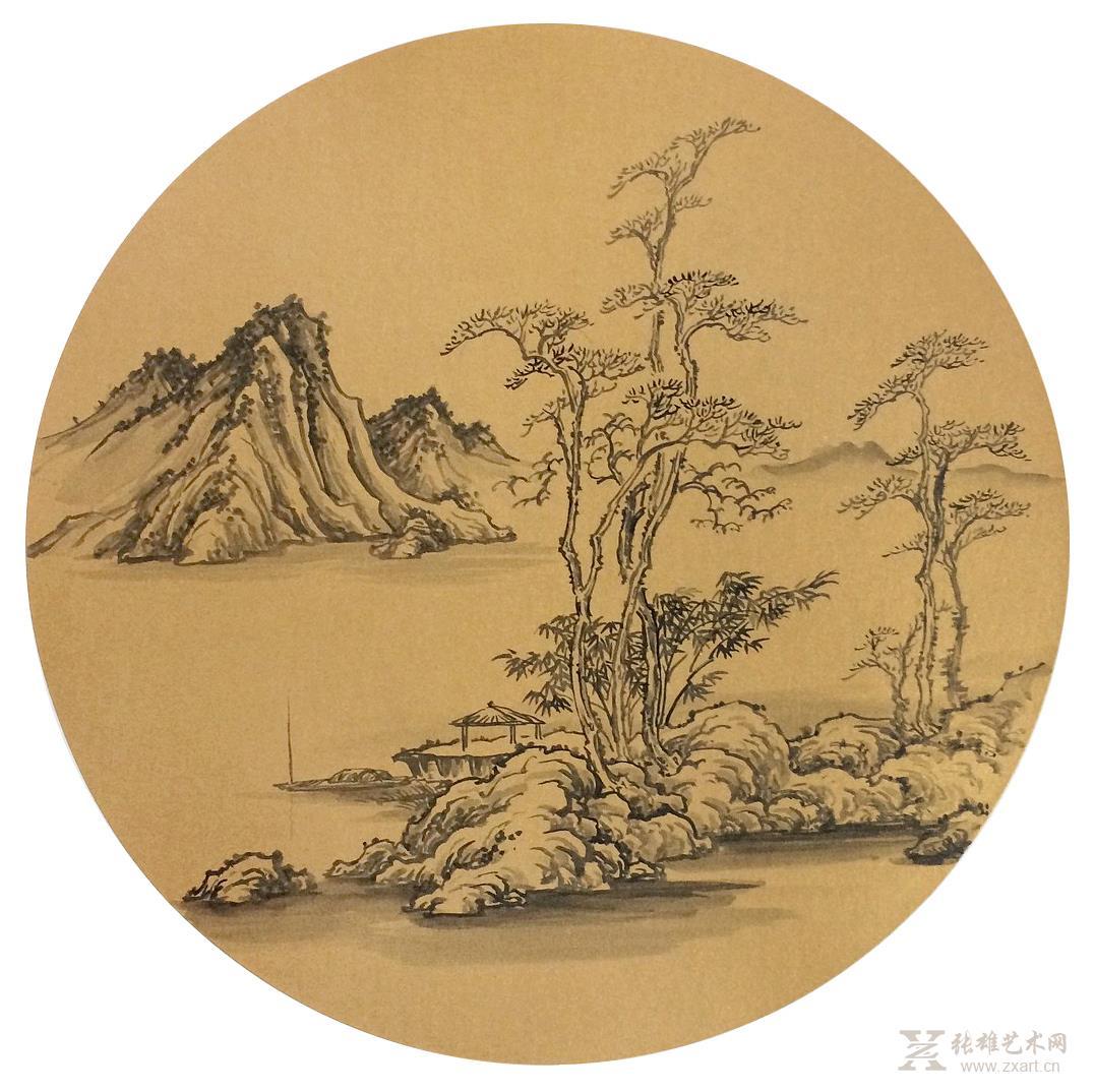 中国书画 国画 名家画 > 《古意山水》团扇 直径 (5)   商品详细商品
