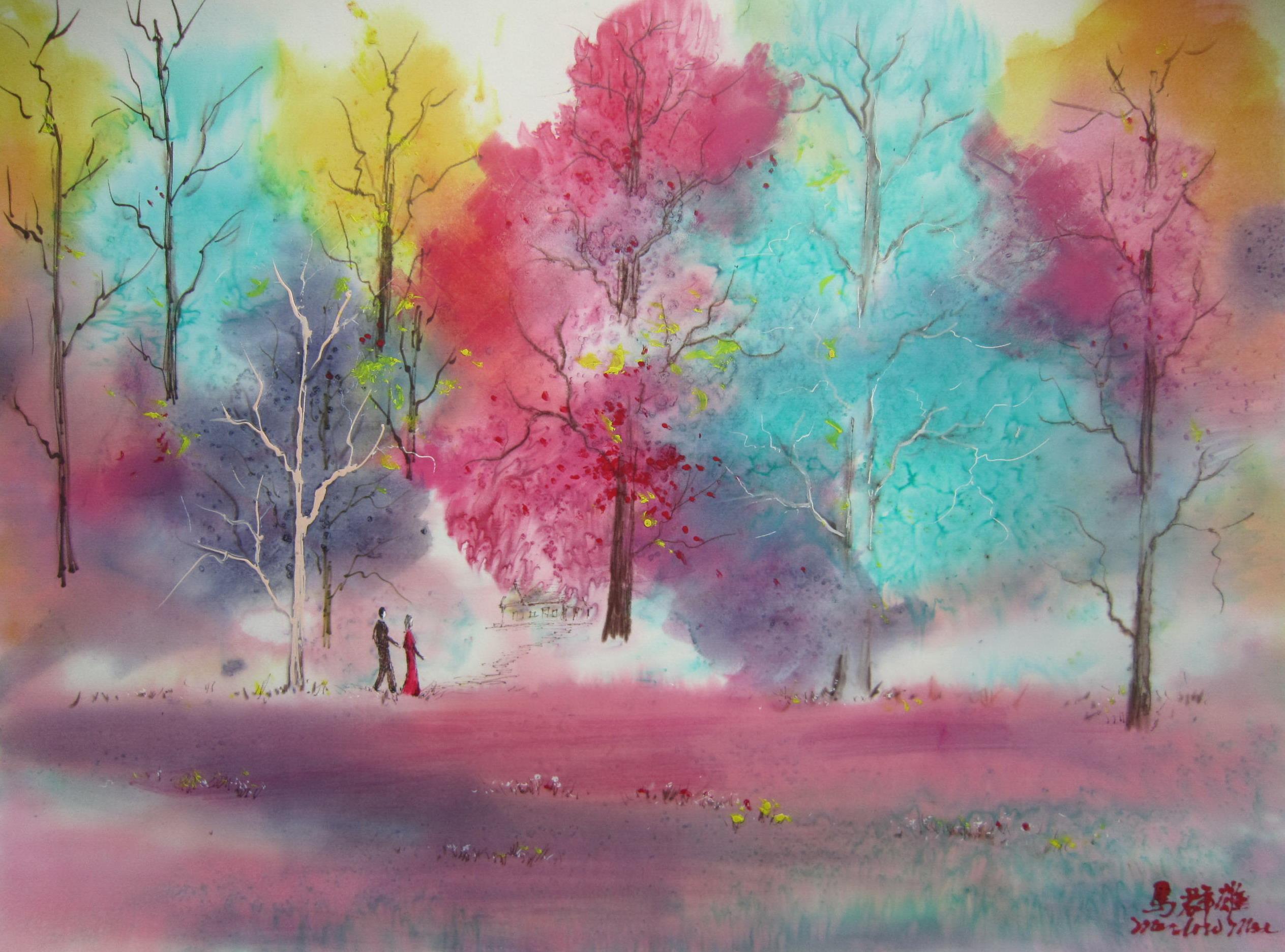 抽象 油画 山水 风景画设计图__绘画书法_文化艺术